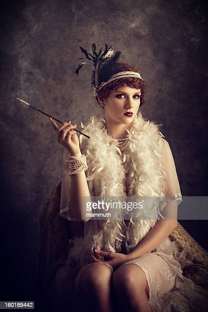 vintage style woman smoking cigarette