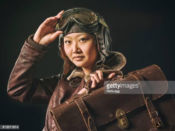 Vintage Styled Woman Pilot