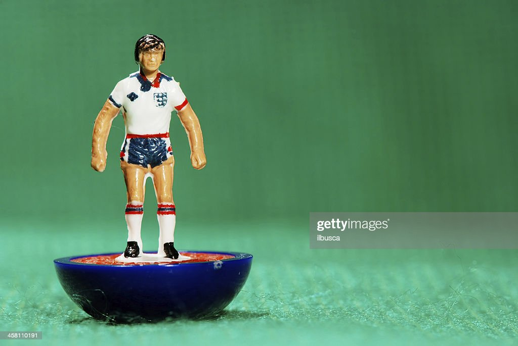 Vintage Subbuteo soccer player miniature toy : Stock Photo