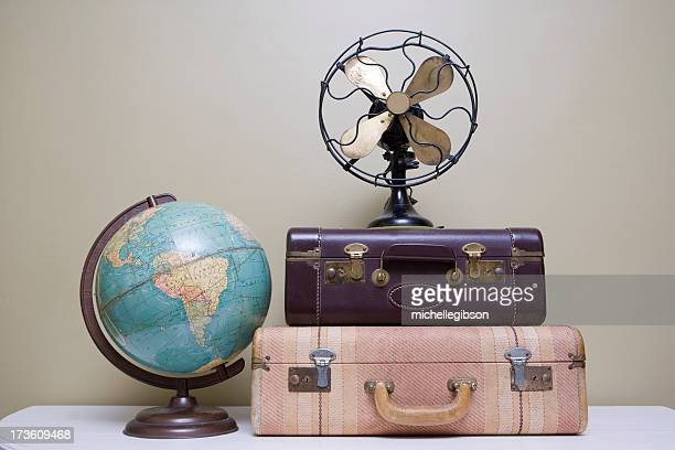 Vintage Suitcase, Fan and Globe