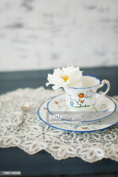 Vintage Tea Cup Trio with Single White Rose