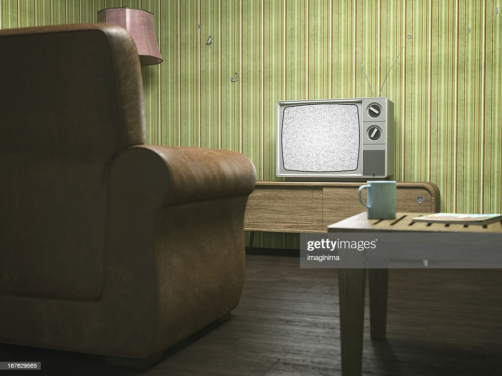 retro living room. Vintage Television in Retro Living Room  Stock Photo In Getty Images