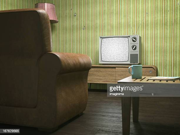 Vintage Television in Retro Living Room