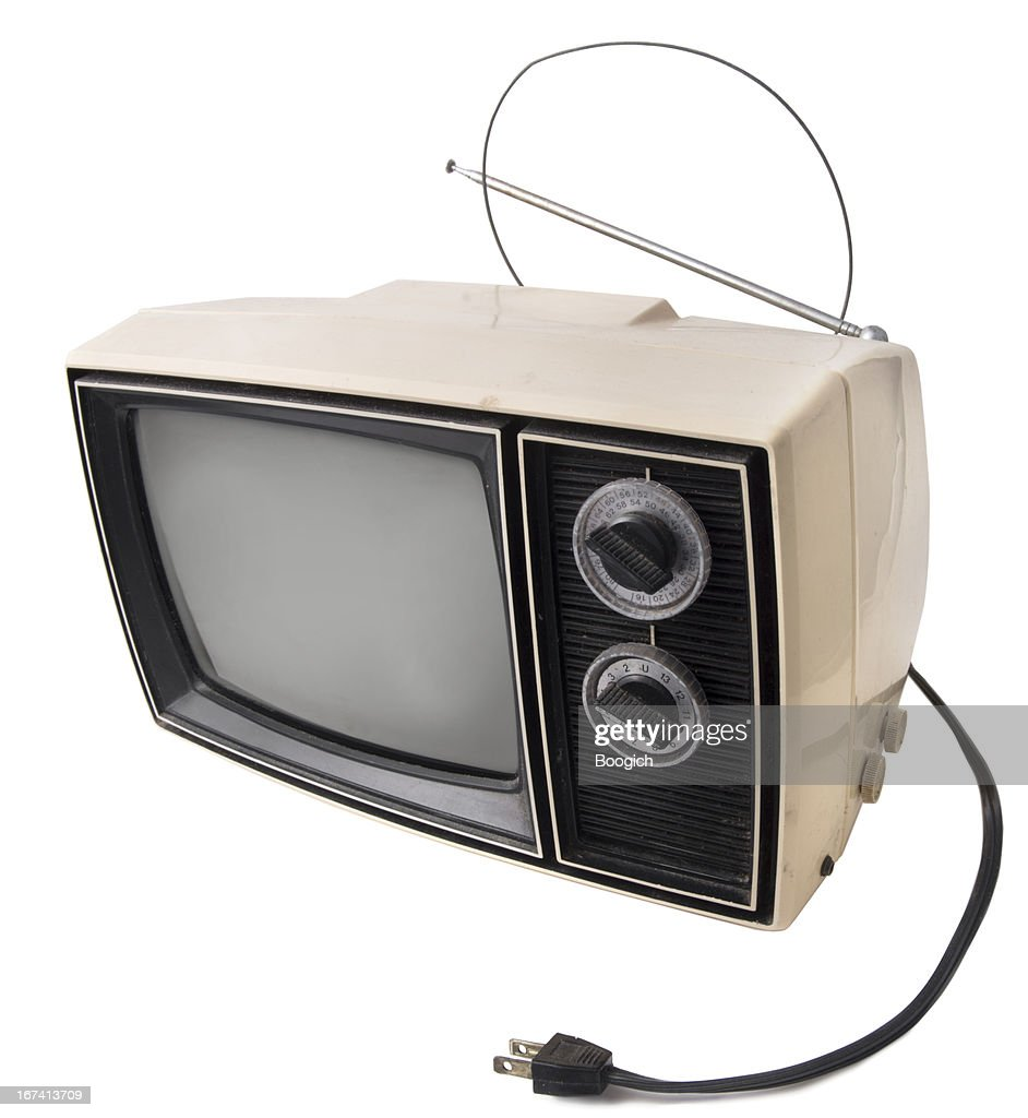 Vintage Television on White : Stock Photo