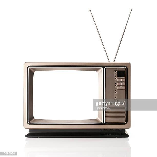 vintage television with clipping path - television show stock pictures, royalty-free photos & images