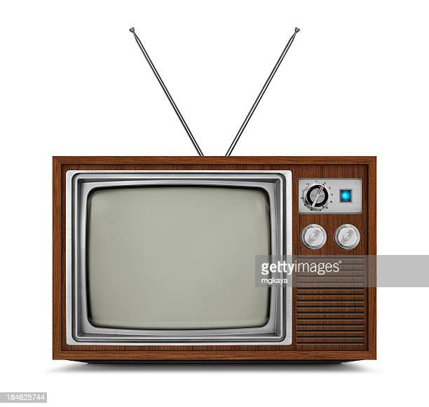 Vintage television with wooden frame and blank screen