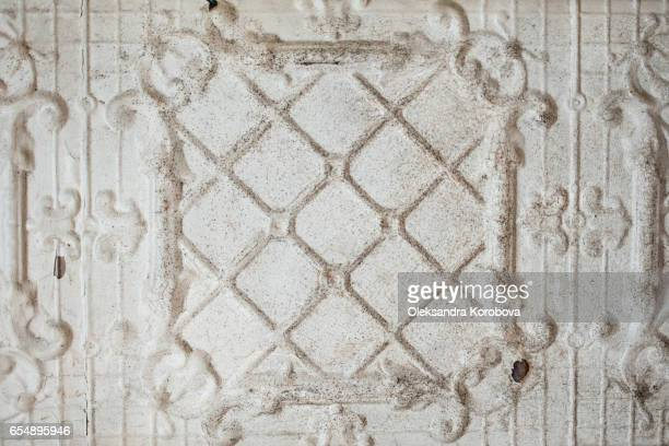 vintage textures of old metal ceiling panels. - istock photos et images de collection