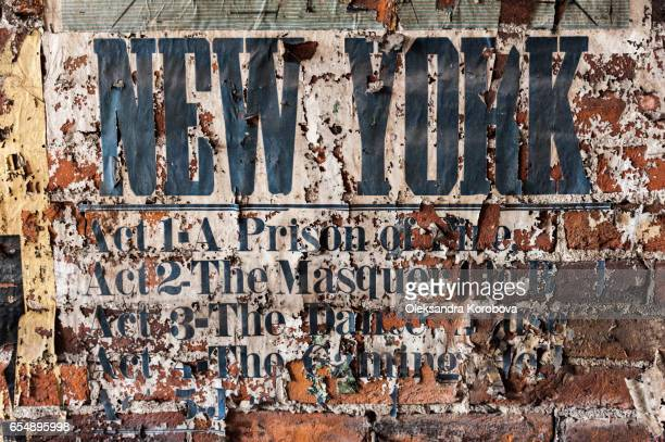 Vintage textures: old poster fragments with letters.