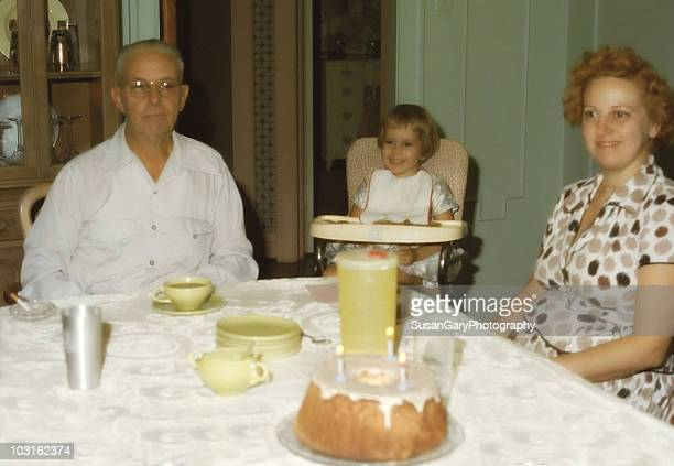vintage three generation birthday party - 1950 1959 stock pictures, royalty-free photos & images
