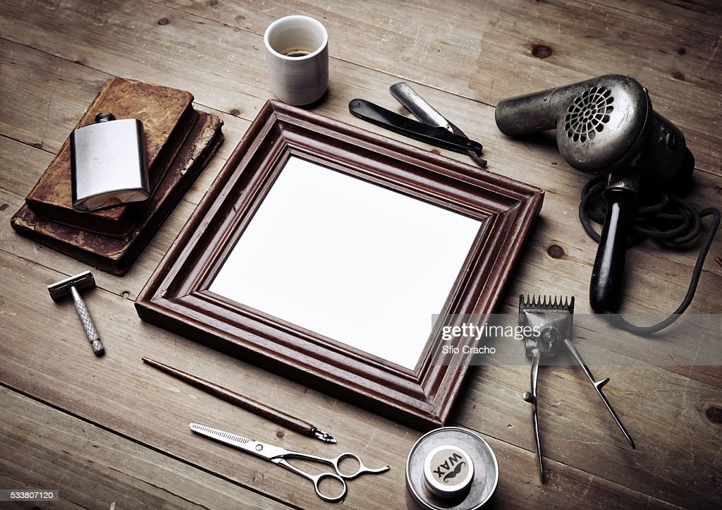Vintage tools of barber shop and picture frame : Foto stock