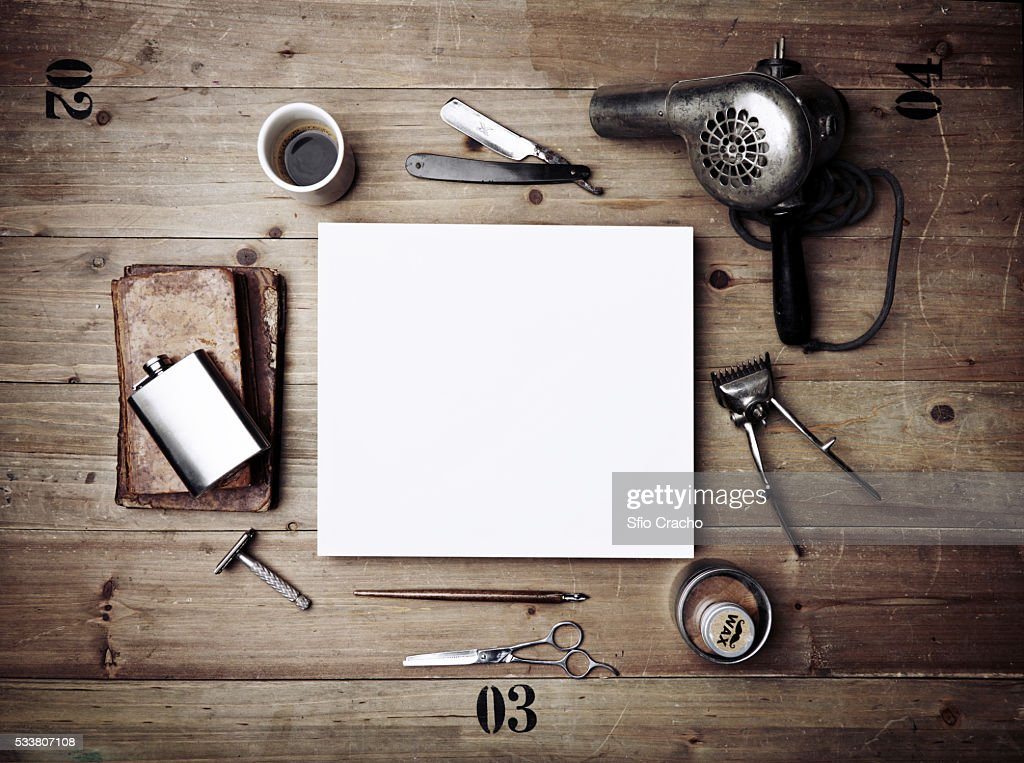 Vintage tools of barber shop and white paper : Foto stock