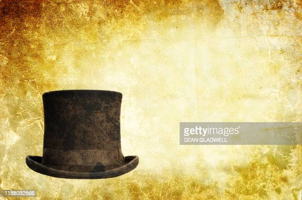vintage top hat background - the past stock pictures, royalty-free photos & images