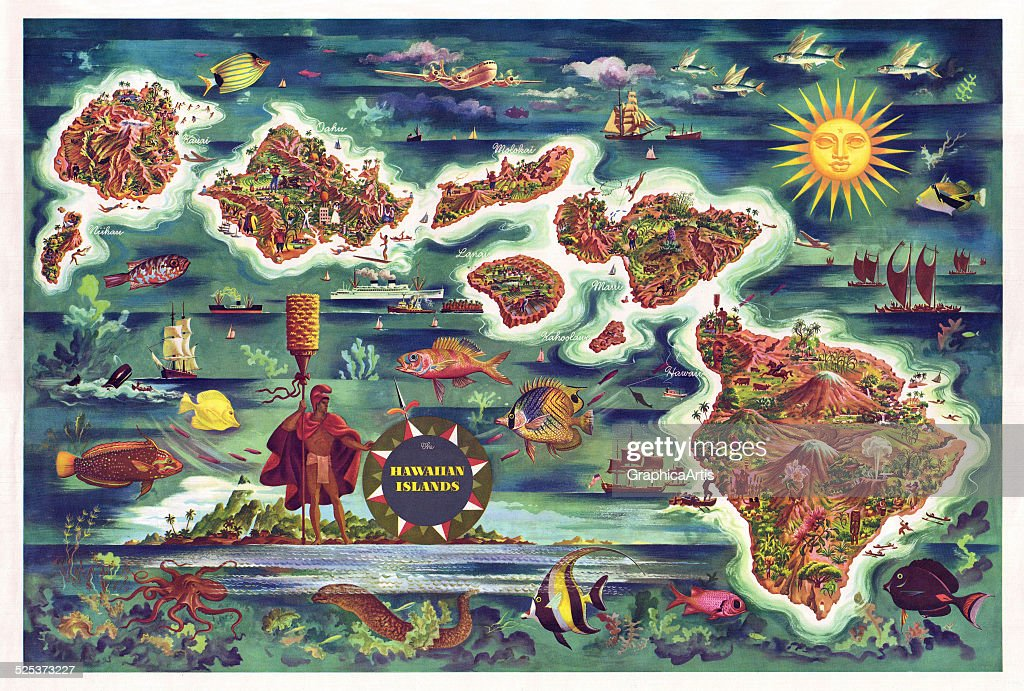Vintage Tourist Map Of Hawaii Pictures Getty Images