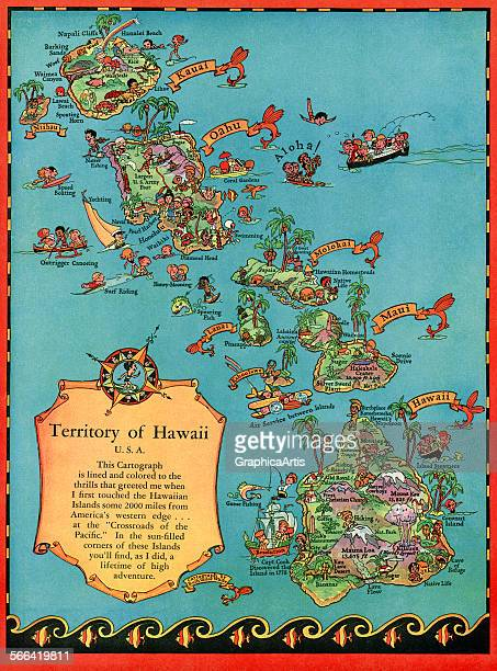 Vintage tourist map of the islands of Hawaii color print 1930s