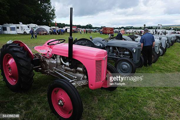 Vintage tractors are displayed at the annual Duncombe Park Steam Fair on July 3 2016 in Helmsley England Held in the picturesque grounds of Duncombe...