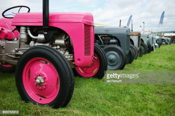 Vintage tractors are displayed during the Duncombe Park Steam Rally on July 1 2017 in Helmsley United Kingdom Held annually in the picturesque...