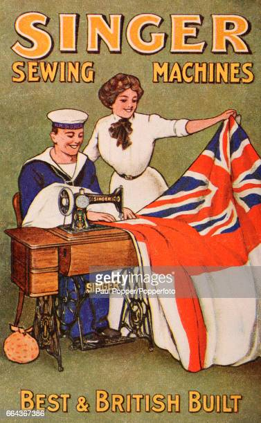 A vintage trade card advertising Singer sewing machine in Britain circa 1900 The image shows a man in his Navy uniform sewing an English and British...