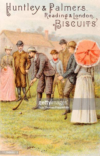 A vintage trade card featuring an illustration of a group of fashionably dressed golfers and spectators advertising Huntley and Palmers biscuits...