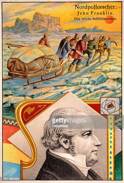 A vintage trade card featuring an illustration of British Arctic explorer John Franklin who with over 130 of his men died looking for the Northwest...
