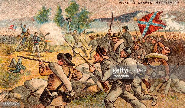 Vintage trade card featuring Pickett's Charge at the Battle of Gettysburg in Pennsylsvania during the American Civil War on 3rd July 1863. Major...