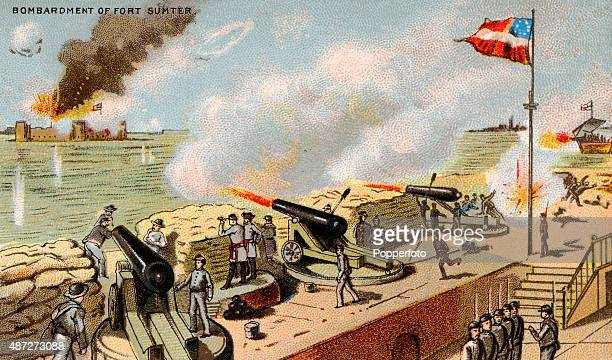 A vintage trade card featuring the bombardment of Fort Sumter in South Carolina during the American Civil War on 10th April 1861 The first shots of...