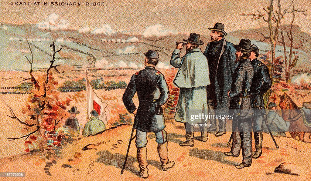 The battle of missionary ridge during the american civil war a vintage trade card featuring union general ulysses s grant reconnoitering prior to the battle of publicscrutiny Images