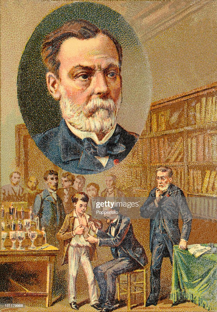 A vintage trade card with a chromolithograph portrait of Louis Pasteur, founder of medical microbiology, produced in France to advertise chocolate, circa 1895. Pasteur inoculated a young boy who was mauled by a rabid dog and did not contract the disease.