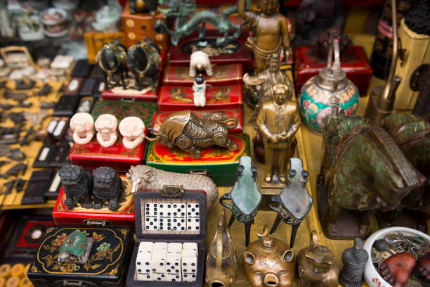 Vintage traditional figurines and knick knacks on display at the Antique market