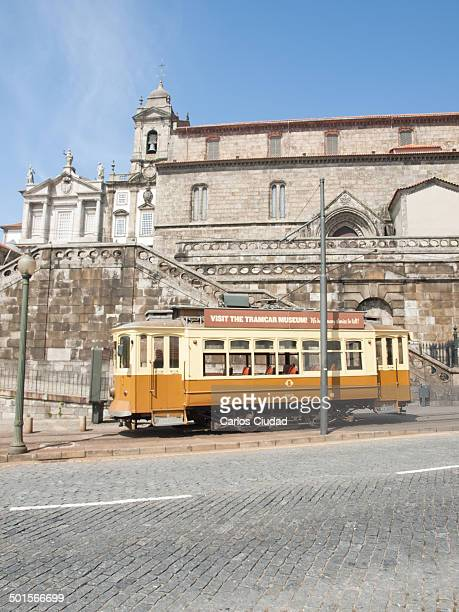 CONTENT] Vintage tramway carriage advertising the Tramcar Museum of Porto Portugal