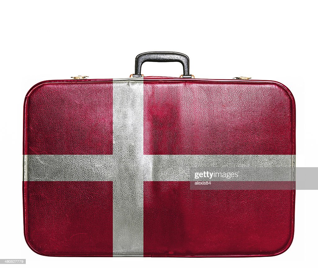 Vintage travel bag with flag of Denmark : Stock Photo