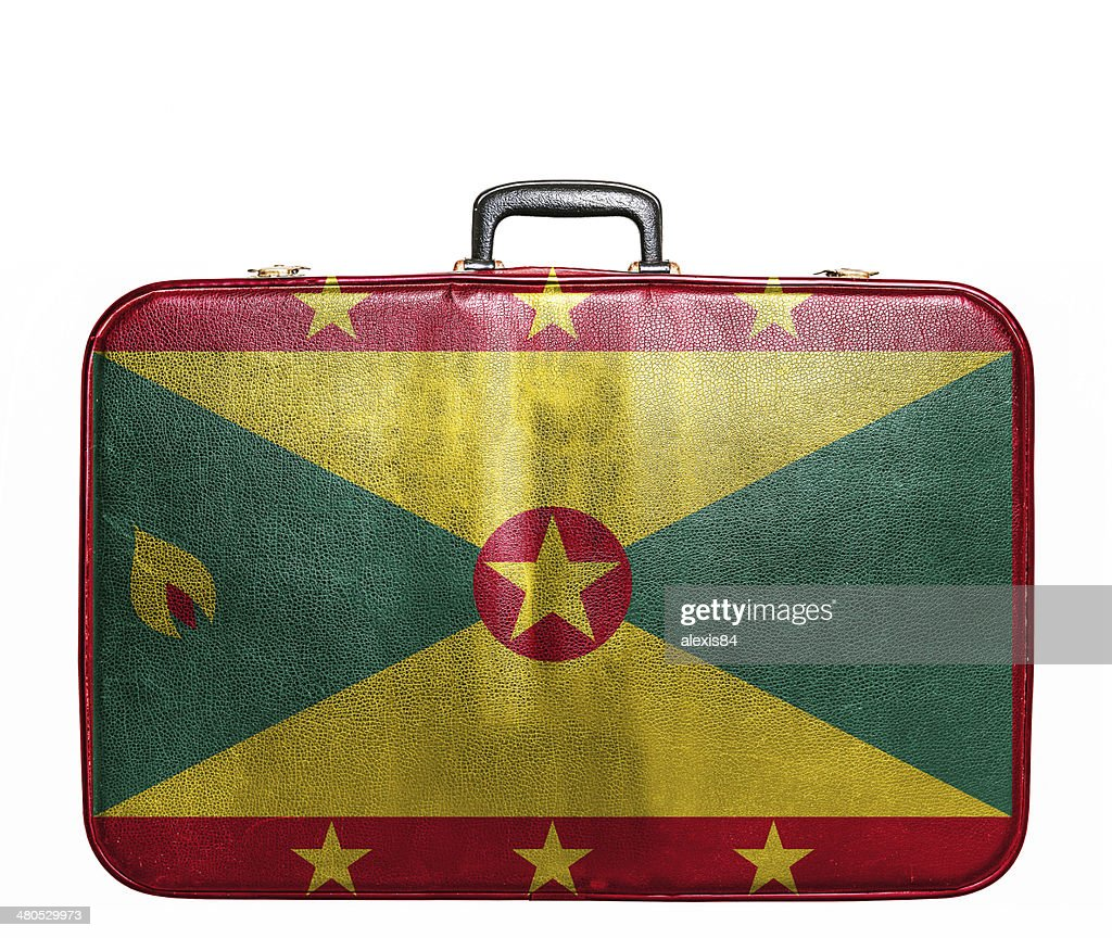 Vintage travel bag with flag of Guernsey : Stock Photo