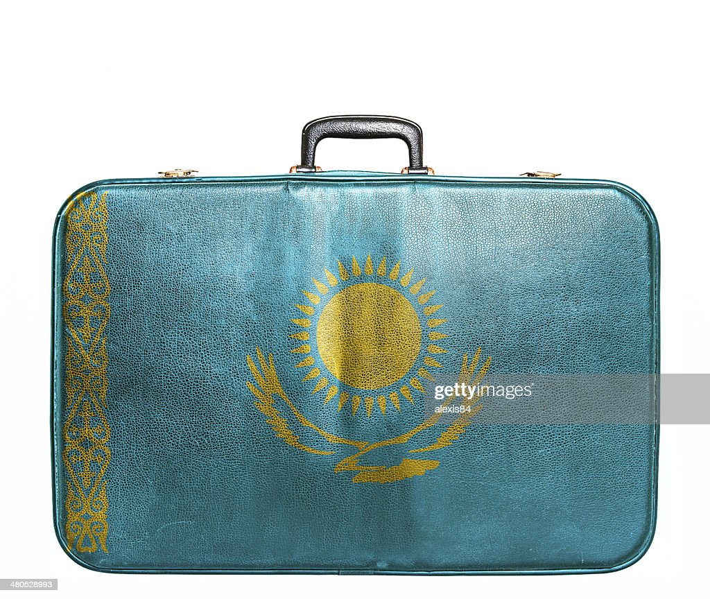 Vintage travel bag with flag of Kazakhstan : Stock Photo