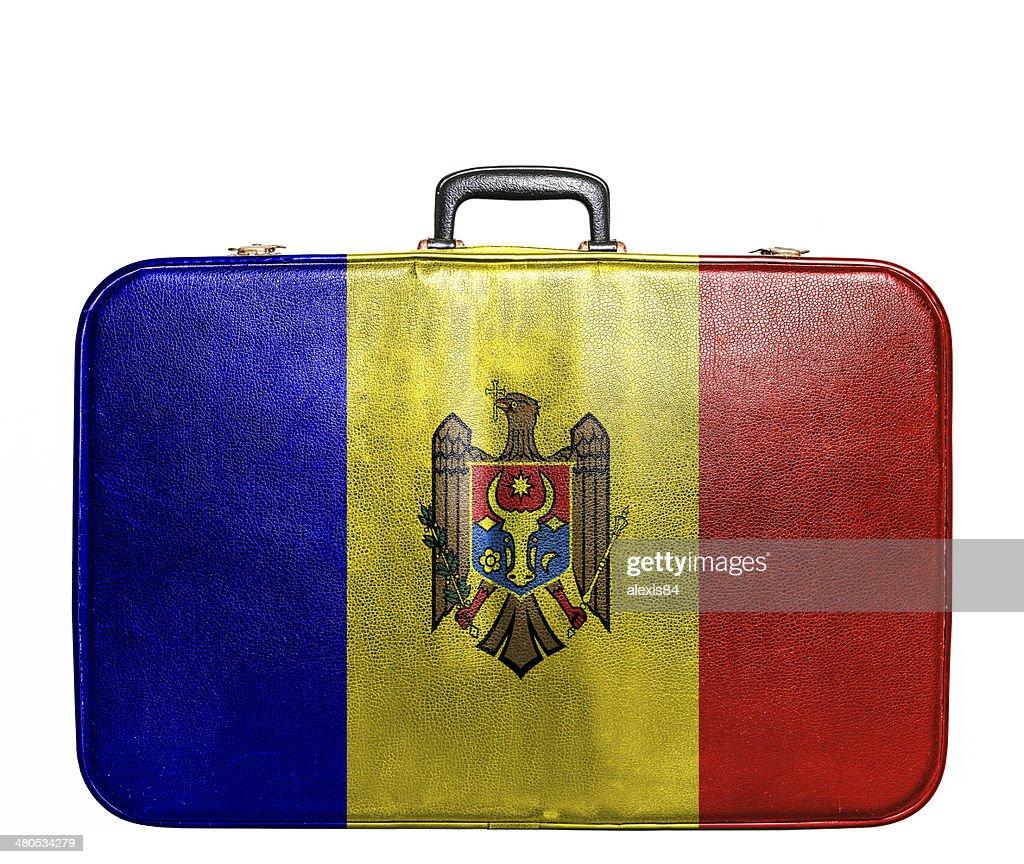 Vintage travel bag with flag of Moldavia : Stock Photo