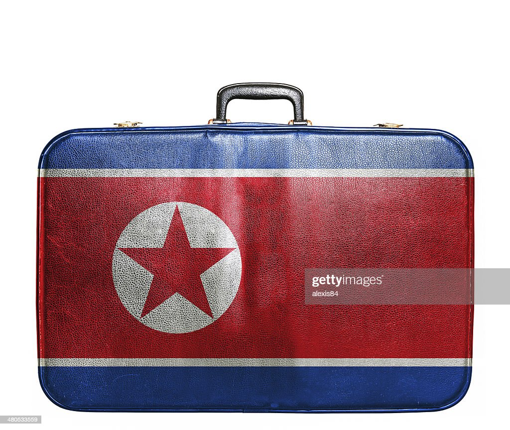Vintage travel bag with flag of North Korea : Bildbanksbilder