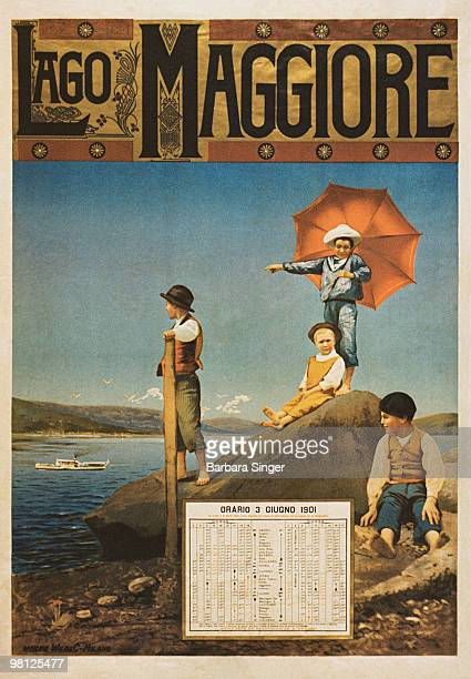Vintage travel poster of children relaxing by lakeshore