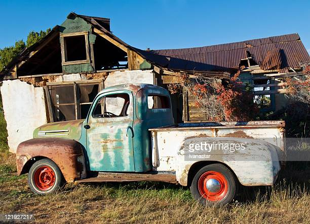 vintage truck in rural new mexico - old truck stock pictures, royalty-free photos & images