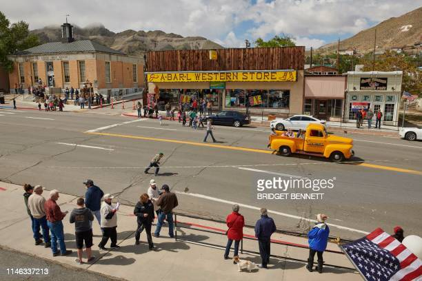 Vintage truck makes it way down the Main Street during Jim Butler Days, founder of Tonopah where they celebrate the roots mining has in the town, in...