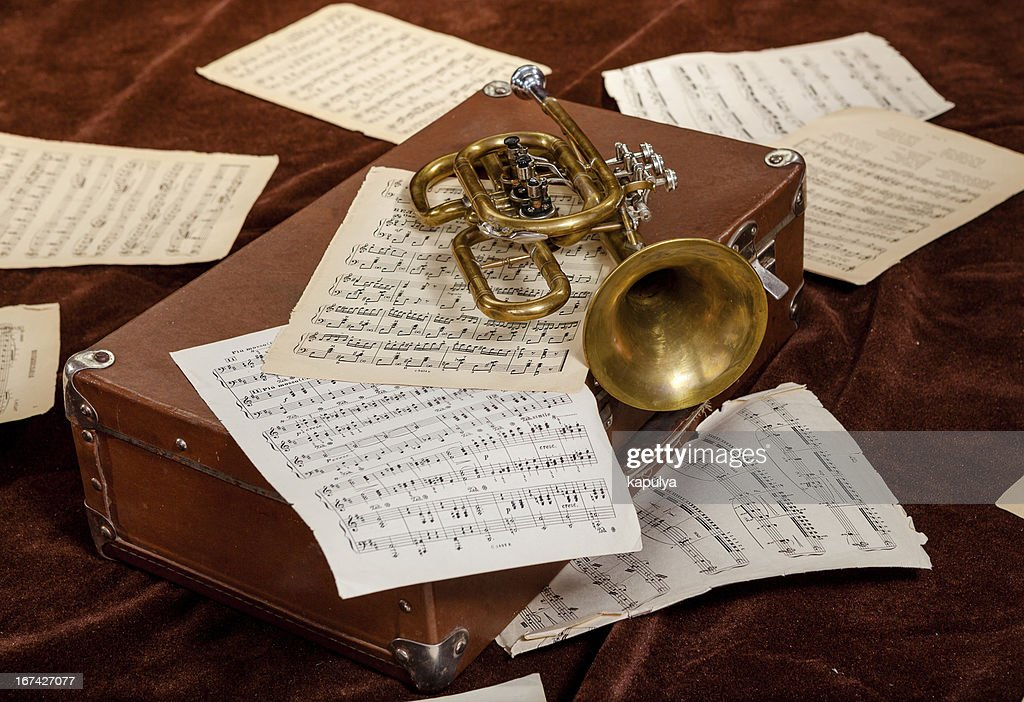 Vintage trumpet is lying between paper sheets with notes : Stock Photo