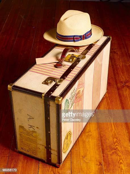 vintage trunk suitcase with hat trunk