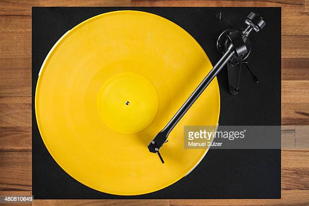 Vintage turntable, high angle