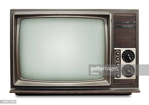 Vintage TV on white background with clipping path