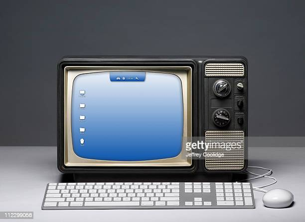 Vintage TV with Computer Screen