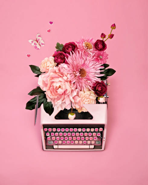 Vintage typewriter with flowers