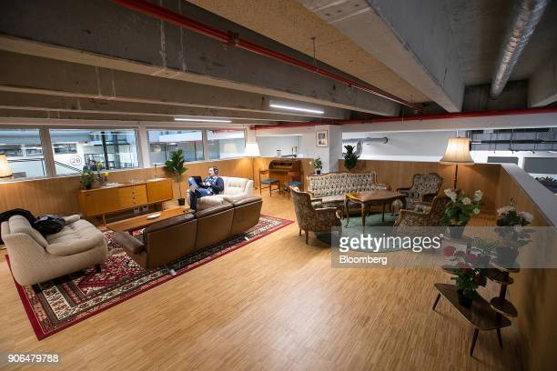 Vintage upholstered furniture sits in a work area as Robert Bosch GmbH opens an Internet of Things campus in Berlin Germany on Thursday Jan 18 2018...