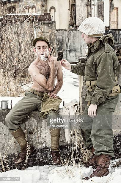 Vintage US Soldier Shaving With The Help of A Buddy
