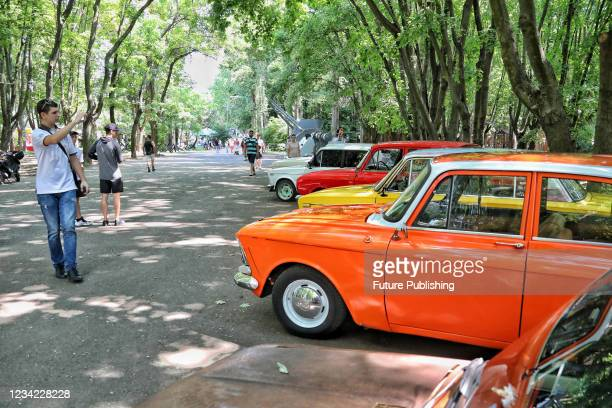Vintage vehicles are on display at the Old School Weekend 2021 car show in Odesa, southern Ukraine.
