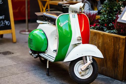 Vintage Vespa Scooter parked on London Street 1059362670