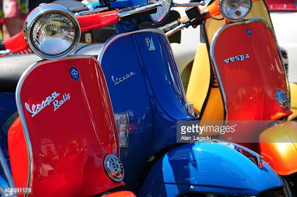 vintage vespa's. - vespa brand name stock pictures, royalty-free photos & images