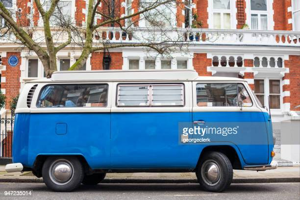 vintage volkswagen campervan on a london street - volkswagen stock pictures, royalty-free photos & images