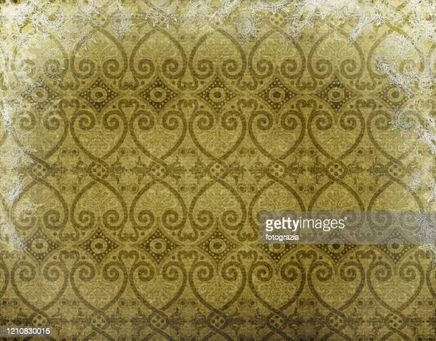 vintage wallpaper design printed on paper - khaki green stock pictures, royalty-free photos & images